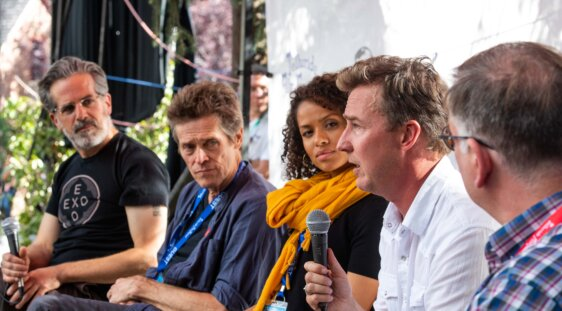 Jonathan Lethem, Willem Dafoe, Gugu Mbatha-Raw and Edward Norton